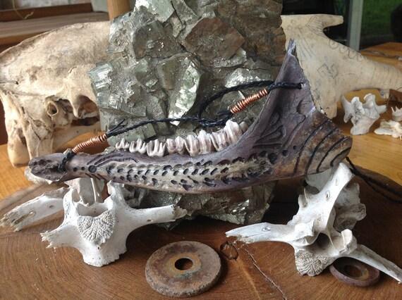 Laurels Rustic Pagan Carved Deer Jaw Bone Necklace Etsy