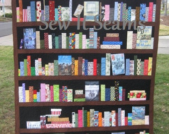 CUSTOM ORDER ONLY Bookcase Quilt - bookshelves, books, knickknacks