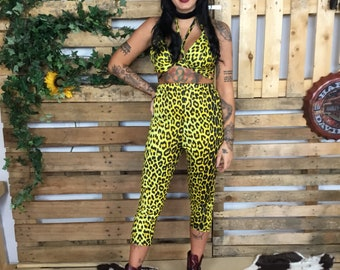 7259988920 Incredible hand made yellow leopard print two piece! Cropped high waisted  trousers and bralette top - handmade to measure - festival rave
