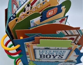 Scrapbooks Cards-Albums-BOYS-Vacation-Family Paying in the Dirt GRILL MASTER bbq title-3d die cut-Premade Paper Piecing