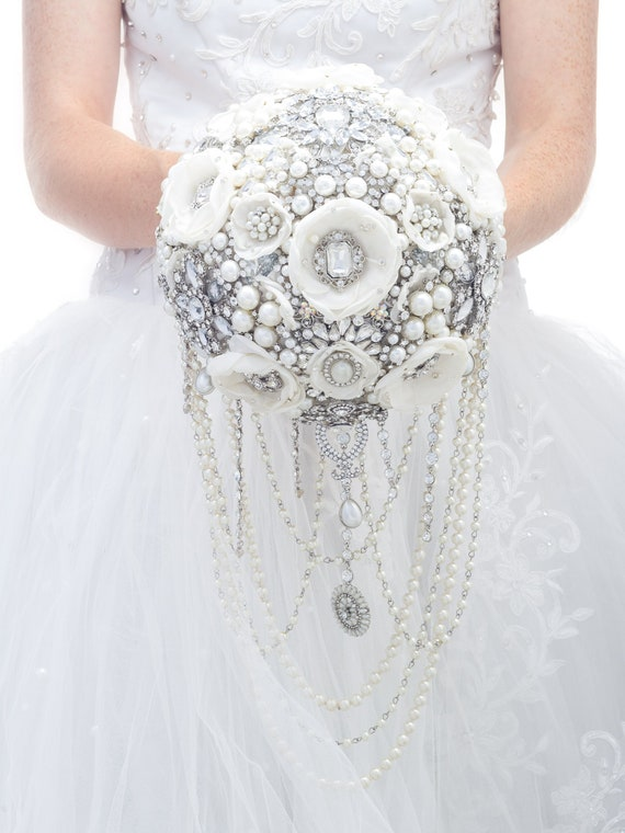 White And Silver Brooch Bouquet Silver And White Jeweled Etsy