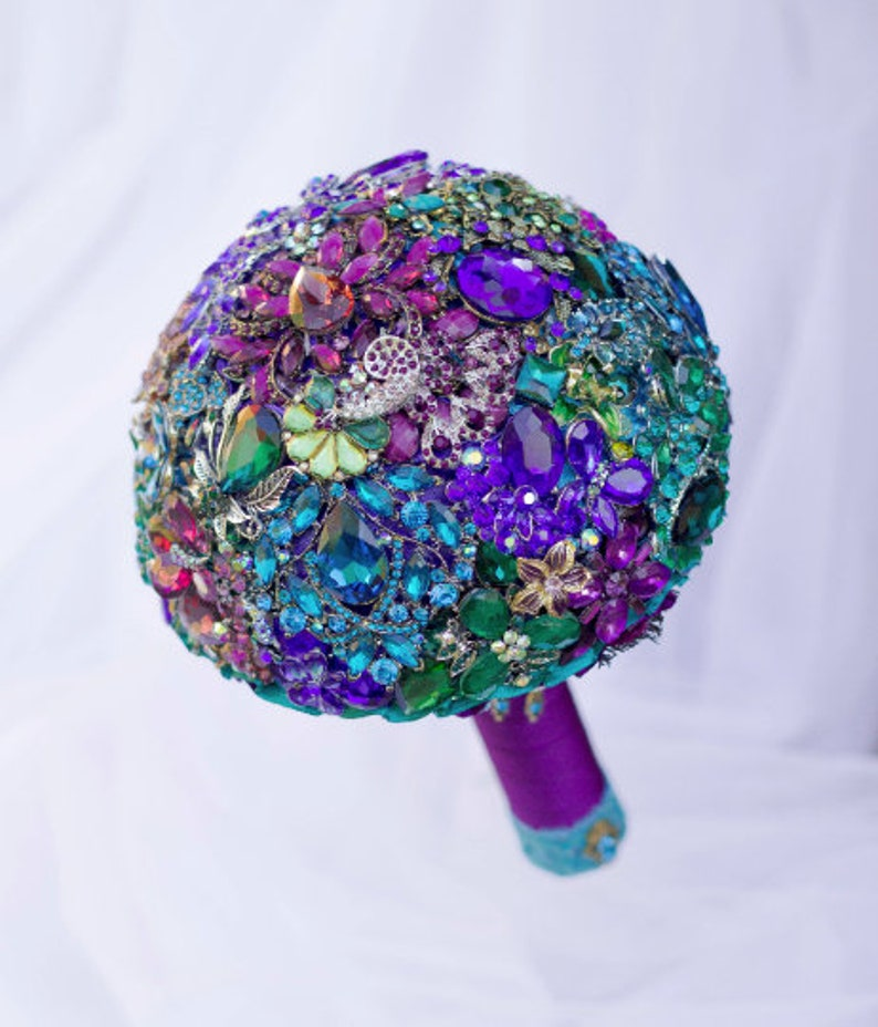 a4b33bcc4 Peacock brooch bouquet Sapphire Purple Gold Peacock jewelery   Etsy