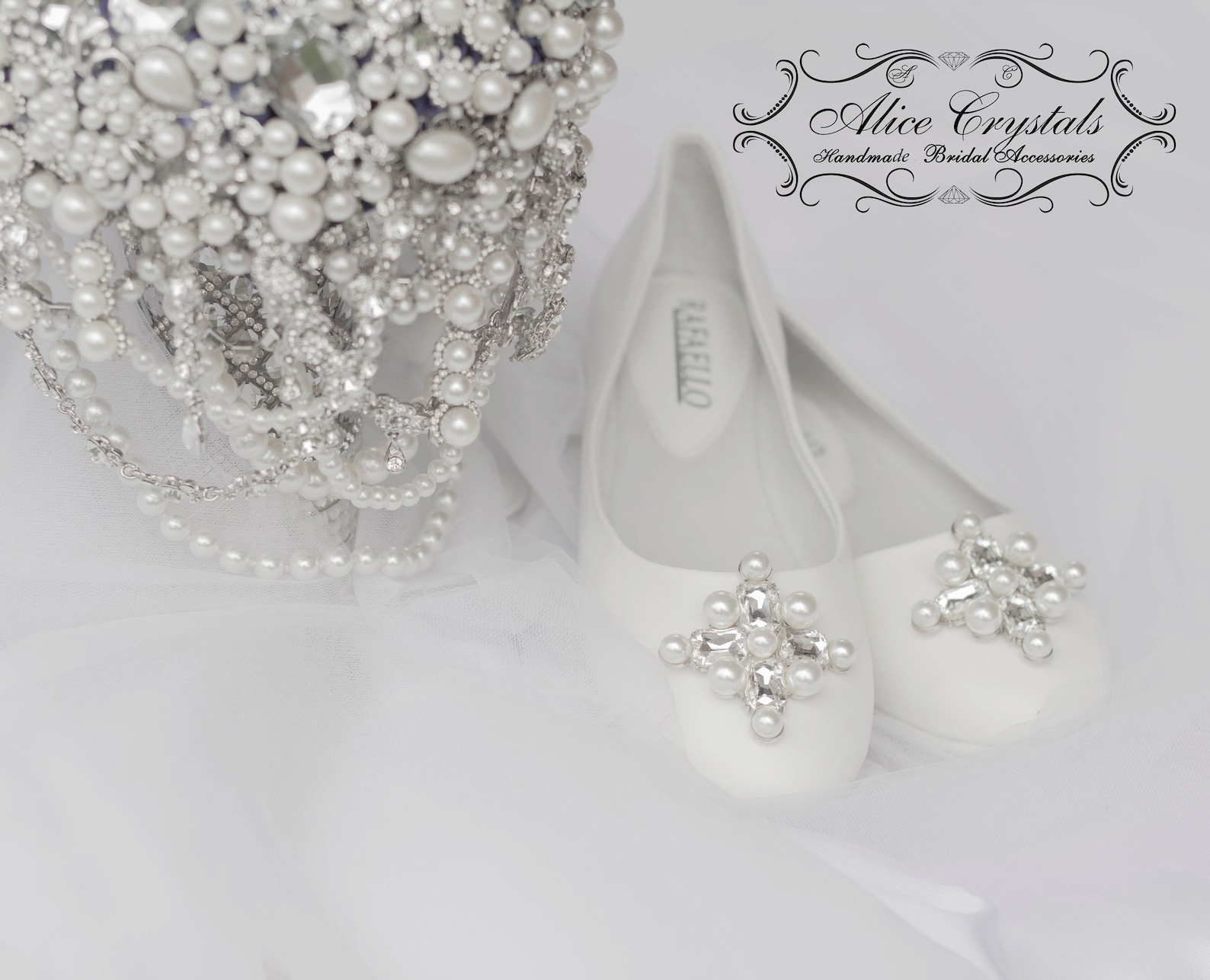 white wedding crystal ballet flats. white pearls bridal shoes. classic bridal shoes.