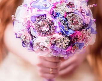 Brooch bouquet. purple and pink  bouquet