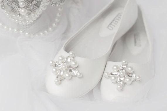 Clips de chaussure mariée Clips perle strass chaussures fête de mariage (lot de 2)