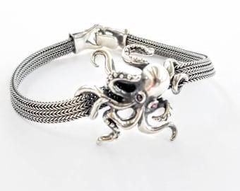 Octopus Bracelet Silver Summer Gift \u2013 Ocean Beach Octopus Cord String Bracelet Jewelry Gift for Her