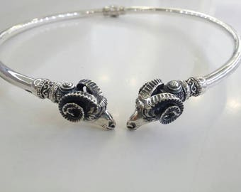 Ram head necklace in silver aries zodiac