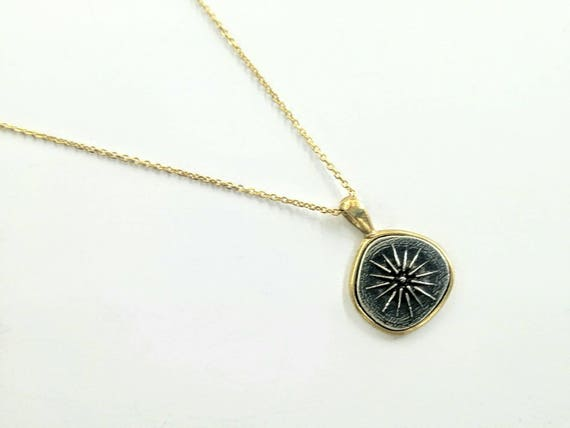 Macedonian Sun In Silver With Gold Filled Chain Etsy