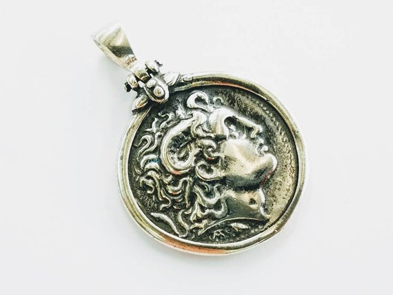 Alexander the great Sterling Silver Pendant  about 1 Diam.