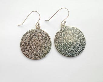 Disc of Festos Phaistos Crete earrings in solid sterling silver 925