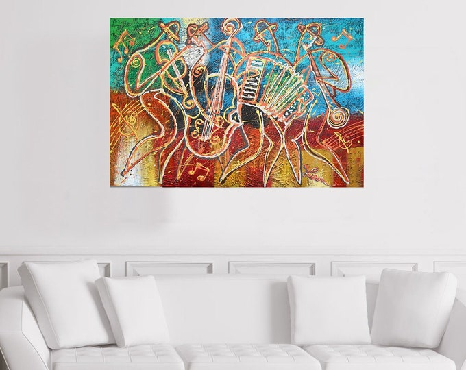 Canvas Art Abstract Stretched Home Decor Jewish Canvas Print Klezmer Jazz Music Modern Art by Leon Zernitsky