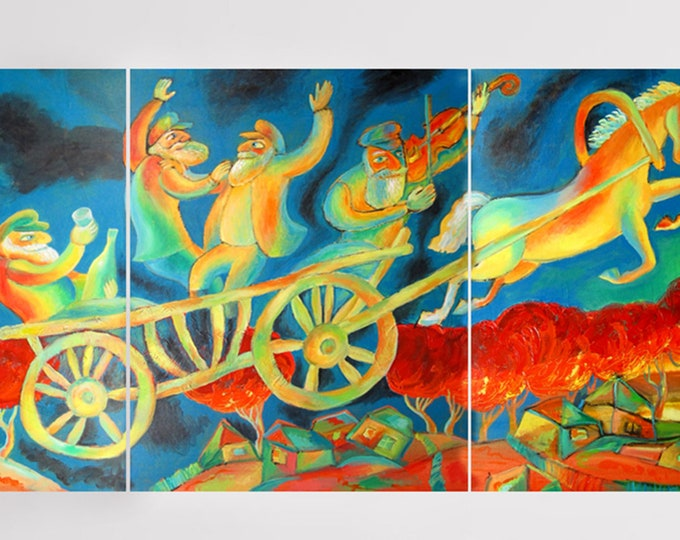 Original Baal Shem Tov Jewish Chabad Lubavich Painting Village Horse Buggy Multi-panelled/triptych Art Ready to Hang by Leon Zernitsky
