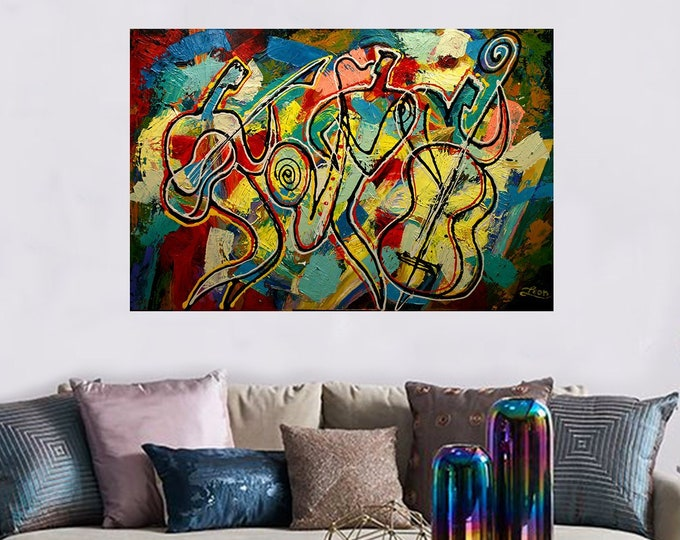 Stretched Canvas Art Contemporary Decorative Jazz Klezmer Music Modern Abstract Print Home Decor by Leon Zernitsky