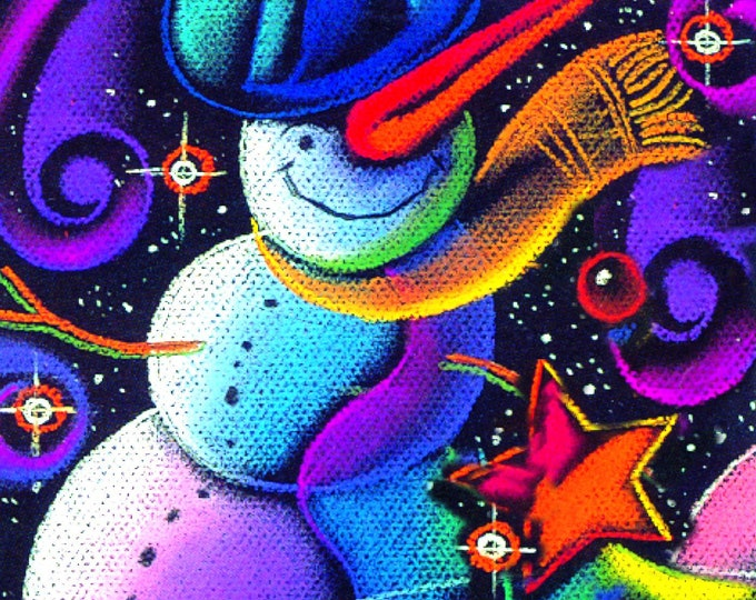 Christmas Tree, Snowman, Holliday Season Canvas Print, Nursery Art, Wall Decor, Girls room decor, Baby room decor, Leon Zernitsky Art