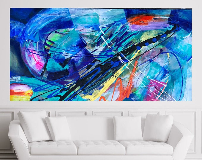 Large Abstract Wall Decorative Stretched Canvas Print Contemporary Living Room Decor Modern Art  by Leon Zernitsky.