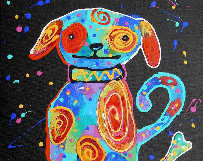 Cute Funny DOG, Baby Nursery art, Girls room decor, Animal Canvas Print, Colourful Abstract Wall Art , Wall decor, Acrylic Painting