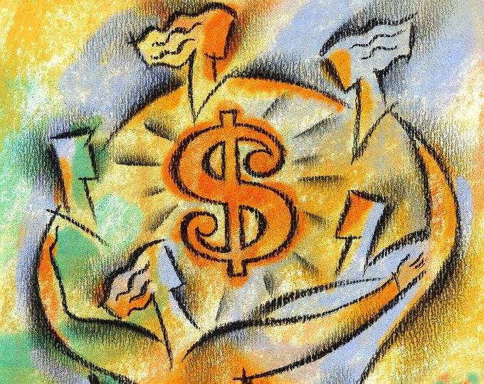 Financial Success, Office Decor, Canvas Art Stretched & Ready-to-Hang Print, Business Deal, Teamwork  - Leon Zernitsky Art