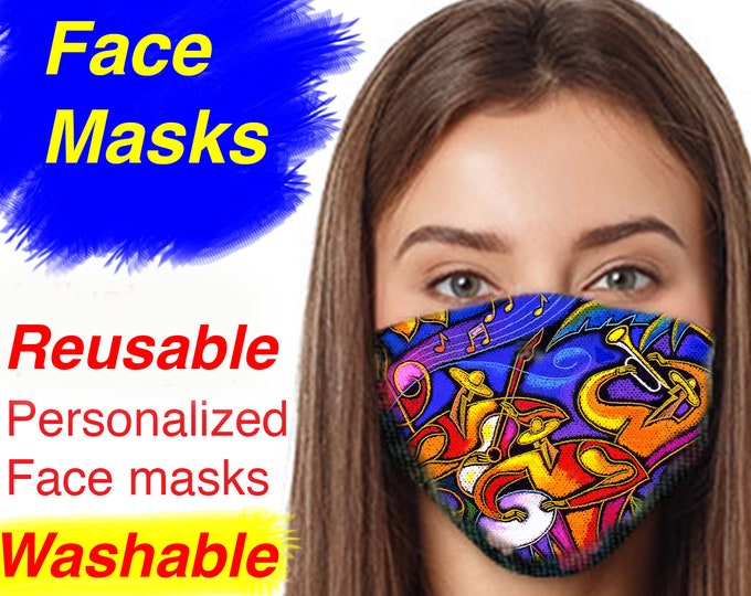 CUSTOMASK Face mask, with my Art Print of your choice, Reusable & Machine Washable. US Brand stylish yet practical accessory.