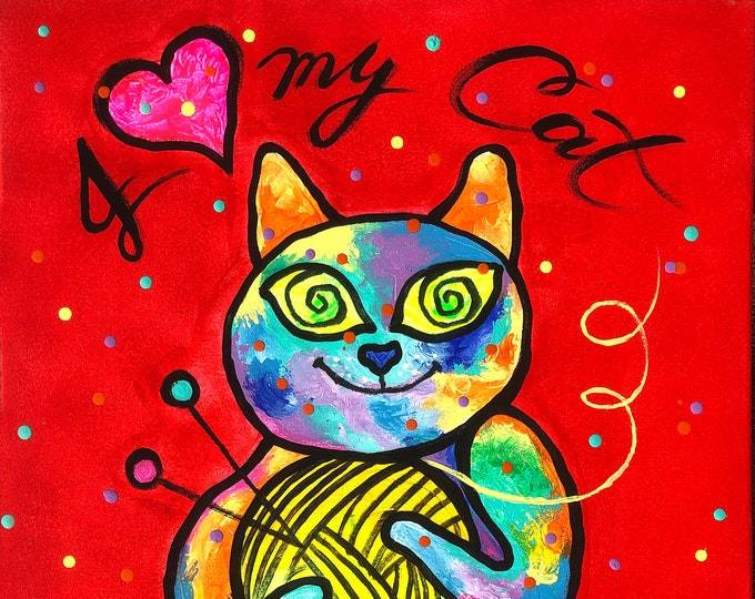 Cute Happy Funny Cat, Baby Nursery art, Gift for cat lover, Animal ORIGINAL painting, Colourful  Wall Art , Wall decor, Acrylic Painting