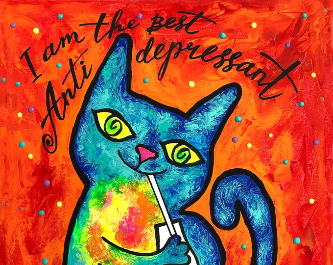 Cute Smart CAT, present for Cats lover, Cats - best, Antidepressant, Animal Print, Colourful Abstract  Art , Wall decor, Acrylic Painting