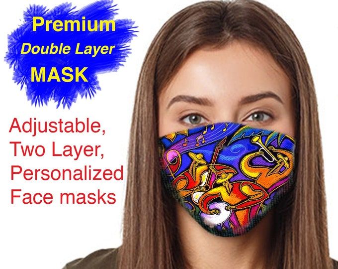 Adjustable, Two Layer Breathable Face masks, with my Art Print of your choice, Reusable & Machine Washable US Brand, Cotton inner layer