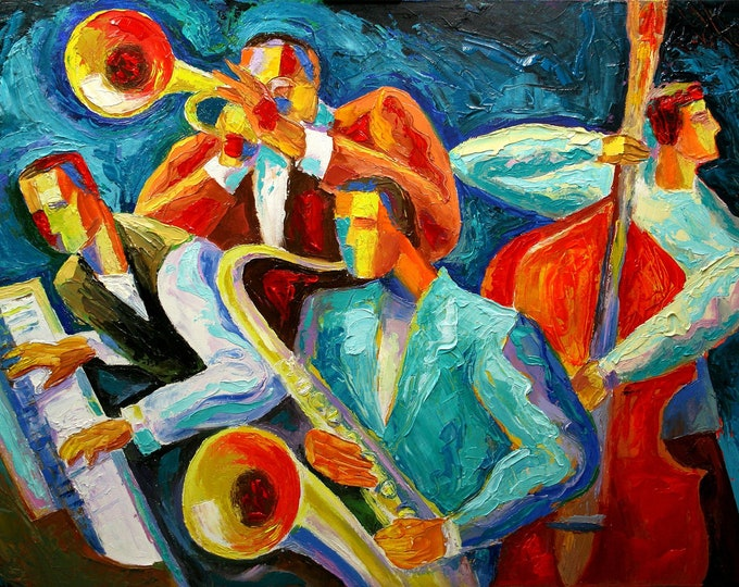 Large Wall Decor Jazz Music Canvas Abstract Stretched Ready to Hang Decorative Print Living room Modern Art by Leon Zernitsky