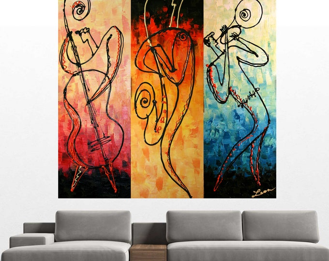 Canvas Art Abstract Stretched Ready to Hang Canvas Print Jazz Music Modern Art by Leon Zernitsky