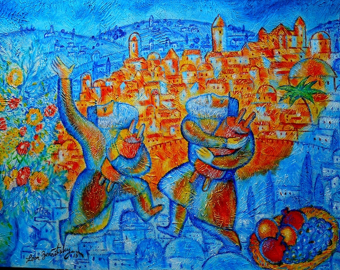 Original Jewish JERUSALEM OF GOLD Rosh Hashanah Canvas Art Abstract Judaica Torah Modern Art Ready to Hang by Leon Zernitsky