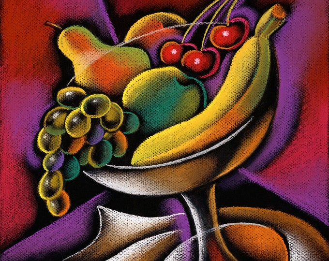 Large Wall Decorative Stretched Canvas Print Contemporary Modern Art Fruits in a Vase by Leon Zernitsky.Mother's Day Gift