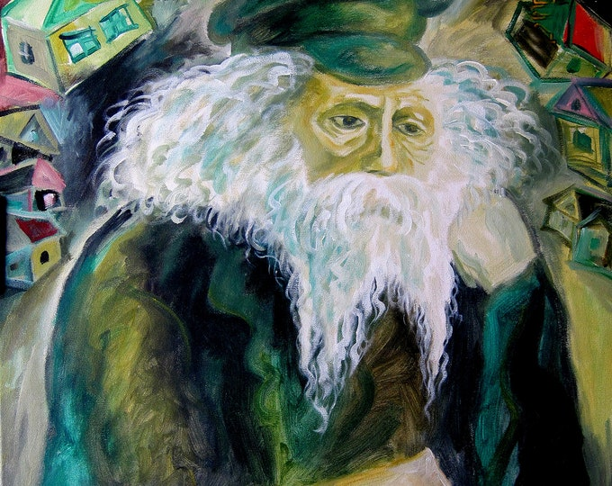 Large Wall Art Jewish Chabad Lubavich Rogatchever Gaon Canvas Art Print Judaica Torah Modern Art Ready to Hang by Leon Zernitsky