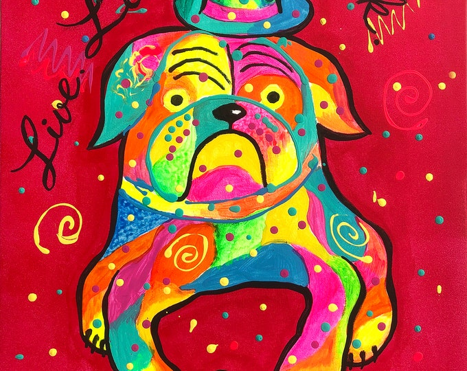 Cute Bulldog DOG, Baby Nursery art, Gift for dog lover, Animal ORIGINAL painting, Colourful Abstract Wall Art , Wall decor, Acrylic Painting