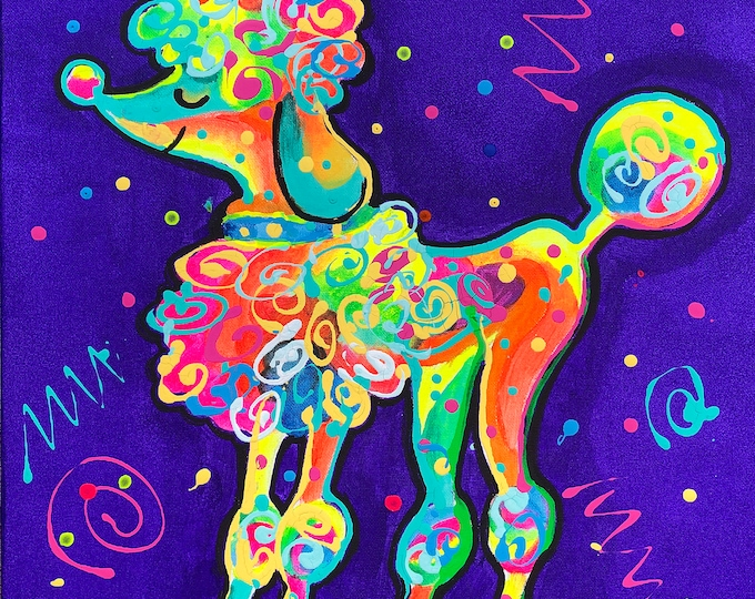 Cute Poodle DOG, Baby Nursery art,  room decor, Animal Canvas Print, Colourful Abstract Wall Art , Wall decor, Acrylic Painting