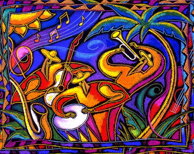 "20""x20"" Custom made on 1.5"" Gallery style wooden frame Canvas Art Stretched Home Decor Print Latin Jazz Music by Leon Zernitsky"