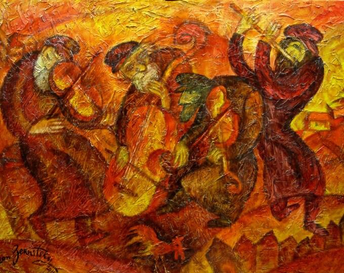 Large Wall Decor, Klezmer Stretched Jewish Canvas Print, Living room Decor, Judaica Modern Art, Ready to Hang by Leon Zernitsky