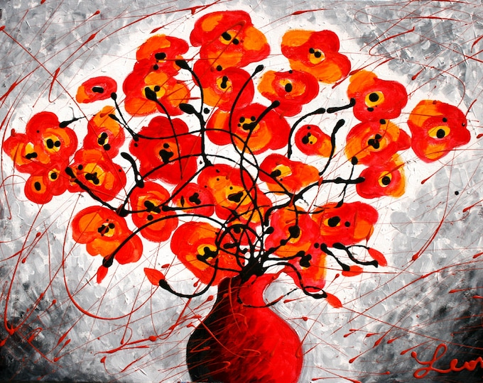 Large Stretched Canvas Print Romantic Red Poppies Flowers Modern Art by Leon ZernitskyMother's Day Gift