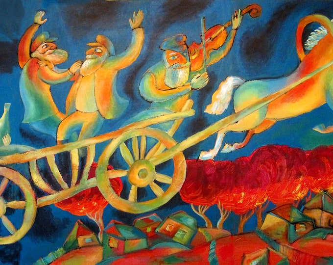 Original Baal Shem Tov Jewish Chabad Lubavich Canvas Art Abstract Judaica Village Horse Buggy Modern Art Ready to Hang by Leon Zernitsky