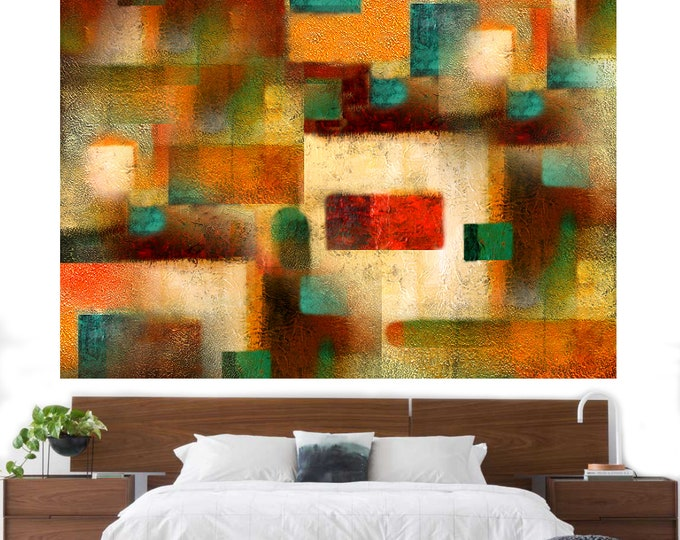 Large Abstract Wall Decorative Stretched Canvas Print Contemporary Modern Room decor Art  by Leon Zernitsky.