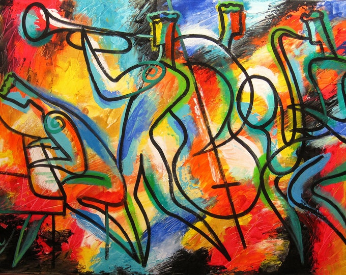 "Modern Jazz Klezmer Music Abstract Art , Wall Art , Fine Art , Acrylic Painting MADE-TO-ORDER Art 24""x36"" by Leon Zernitsky"