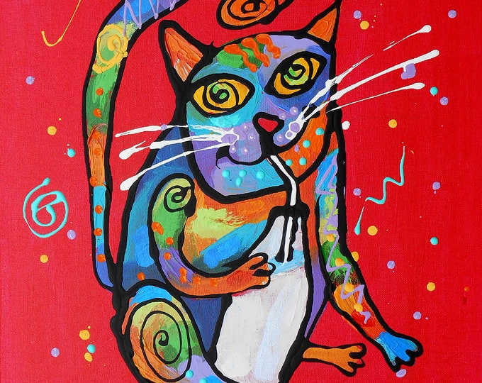 Cute Smart CAT, Baby Nursery art, Girls room decor, Animal Canvas Print, Colourful Abstract Wall Art , Wall decor, Acrylic Painting