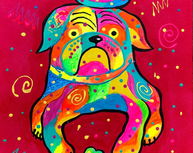 Cute Bulldog DOG, Baby Nursery art,  room decor, Animal Canvas Print, Colourful Abstract Wall Art , Wall decor, Acrylic Painting