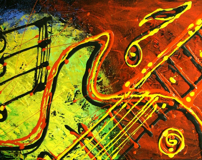 Large Home Wall Decor Jazz Music Guitar Canvas Abstract Stretched Ready to Hang Decorative Print Living room Modern Art by Leon Zernitsky