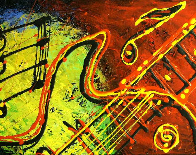 Large Wall Decor Jazz Music Guitar Canvas Abstract Stretched Ready to Hang Decorative Print Living room Modern Art by Leon Zernitsky