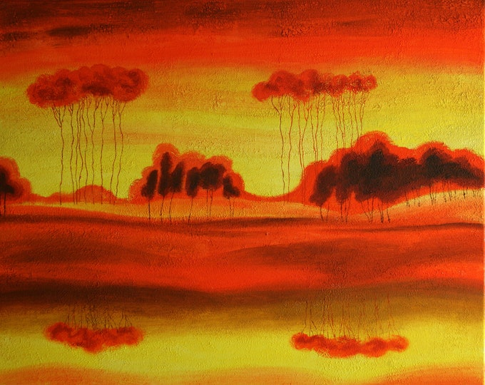 ORIGINAL ART, Abstract Painting , Decorative Art , Wall Art , Modern Painting, Red Planet Surrealism, Canvas stretched on a wooden frame