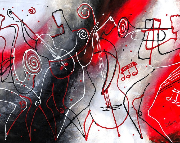 """Custom made 60""""x30"""" Extra Large Wall Home Decor Jazz Music Canvas Abstract Stretched Decorative Print Modern Art by Leon Zernitsky"""