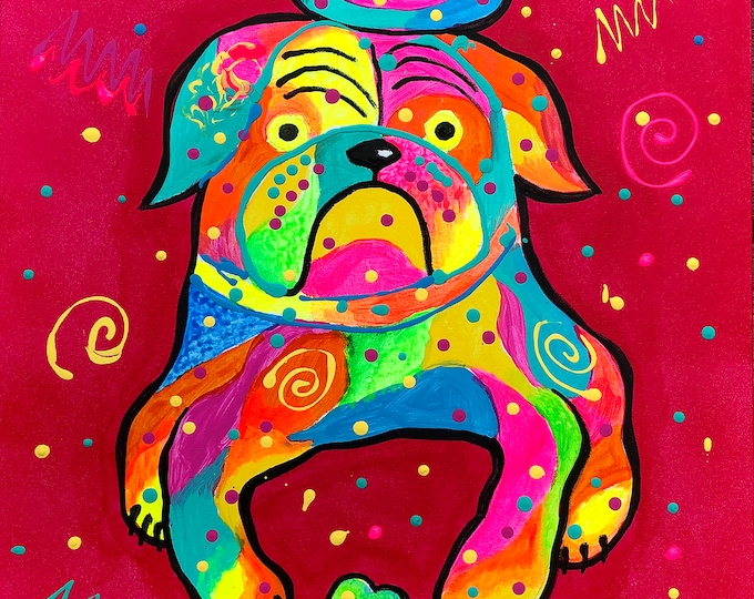 Cute Bulldog DOG, Baby Nursery art, Girls room decor, Animal ORIGINAL painting, Colourful Abstract Wall Art , Wall decor, Acrylic Painting