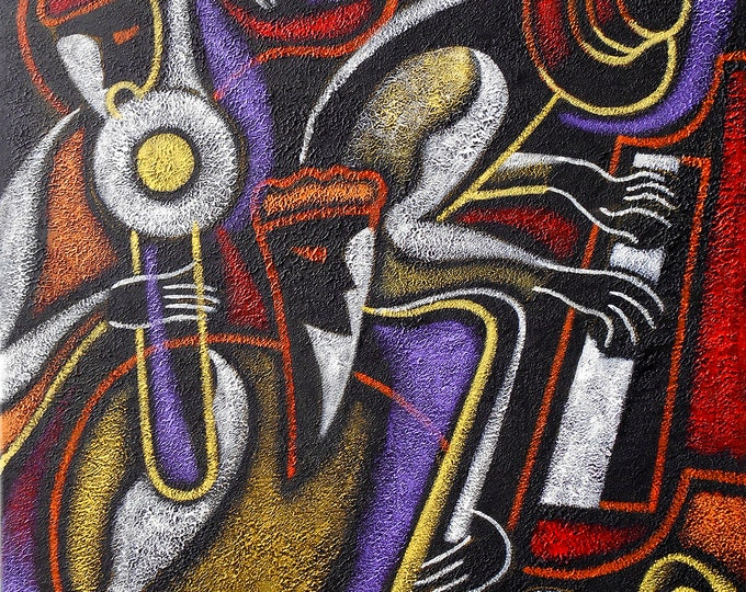 Canvas Art Abstract Stretched Ready to Hang Jewish Canvas Print Klezmer Jazz Music Modern Art by Leon Zernitsky