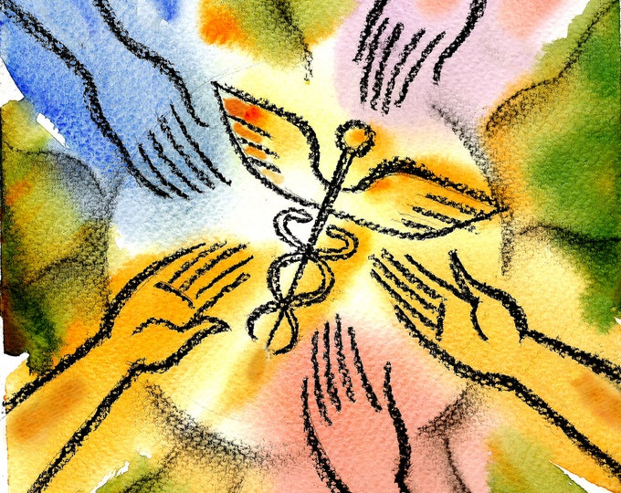 Health-care Connection, Doctor, Medical office Decor, Canvas Stretched & Ready-to-Hang Print,  Leon Zernitsky Art