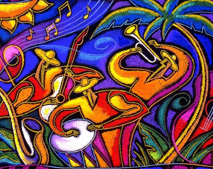 Large  Art Stretched Home Decor Print Latin Jazz Music Best Gift  by Leon Zernitsky