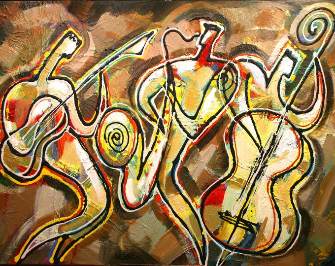 Extra For Sale in Europe, Asia, Australia - Large Custom made Wall Art Canvas Prints Best Gift Stretched Jazz Music Art by Leon Zernitsky