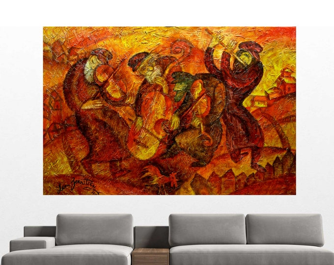 Large Home Wall Decor Chagall style Klezmer Stretched Jewish Canvas Print, Decor Judaica  Modern Art, Ready to Hang by Leon Zernitsky